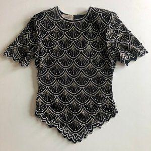 vtg beaded blouse, vintage beaded top, 1970s black